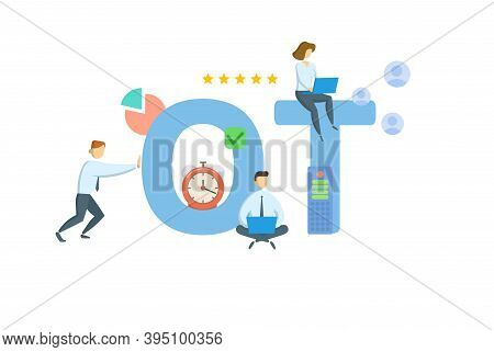 Ot, Overtime. Concept With Keywords, People And Icons. Flat Vector Illustration. Isolated On White.