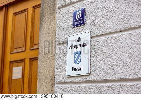 Passau / Germany - November 8, 2020: Sign Of Penal Institution Passau. Justizvollzugsanstalt Means P