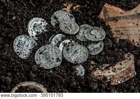 Ancient Coin Of The Roman Empire.authentic Silver Denarius, Antoninianus Of Ancient Rome.roman Silve