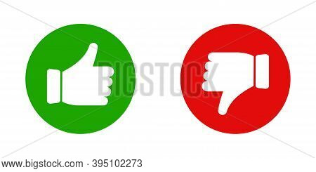 Thumb Up And Thumb Down Vector Icon . Set Of Like And Dislike Icon . Flat Style .