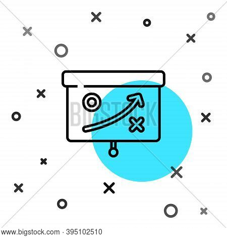 Black Line Planning Strategy Concept Icon Isolated On White Background. Cup Formation And Tactic. Ra