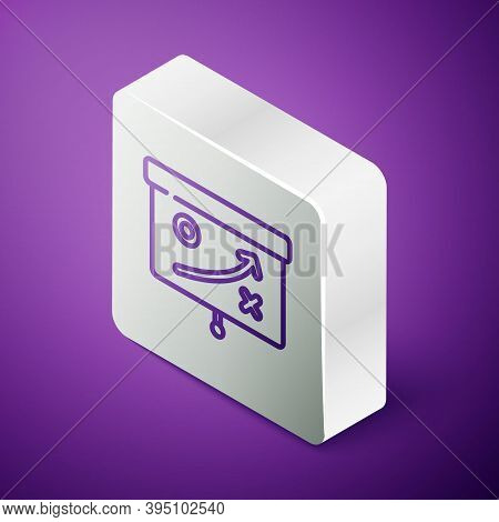 Isometric Line Planning Strategy Concept Icon Isolated On Purple Background. Cup Formation And Tacti