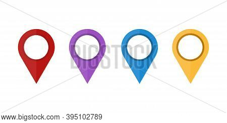 Map Pointer .set Of .colored Map Pin . Map Pointer Icons , Isolated On White Background. Vector Illu