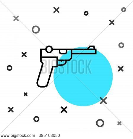 Black Line Mauser Gun Icon Isolated On White Background. Mauser C96 Is A Semi-automatic Pistol. Rand