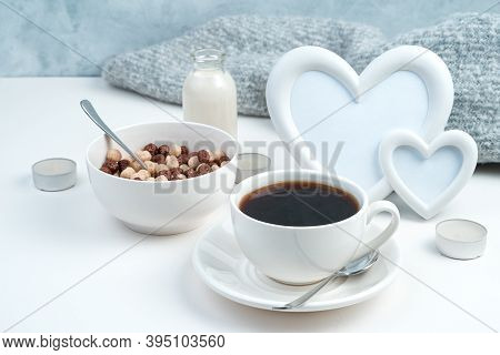 Cereal Balls And A Cup Of Chicory On A Romantic Background With Hearts.