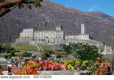 Beautiful View On Autumn Of The Castel Grande Castle Located In The Ticino Canton In Switzerland