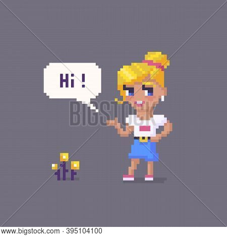 Pixel Art Girl Character. Young Woman Personage.