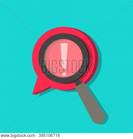 Identify Risk Icon. Icon Of Censored. Search With Magnifier In Comment. Focus On Exclamation. Data W