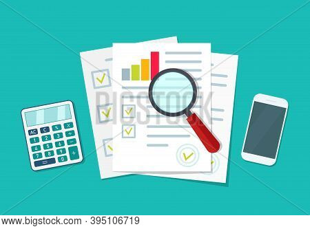Audit Icon. Financial Research And Report. Document With Verification Data And Result Of Analyze. Au
