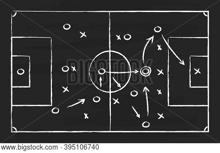 Soccer Tactic On Board. Football Strategy On Chalkboard. Plan For Game. Blackboard With Chalk For Sp