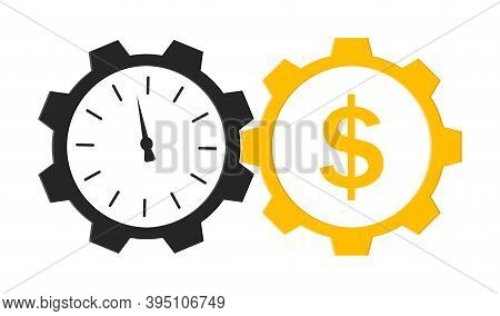 Time Is Money. Icon With Clock And Cog. Logo Of Wage And Superannuation. Circles With Hours And Gear