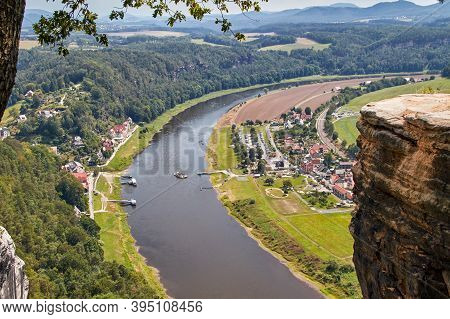View From The Bastei Viewpoint Of The Elbe And The Ferry Port Rathen In Landscape Format With The Ri