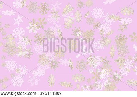 Beautiful Snowflake Pattern White And Gold Falling On A Subtle Pastel Pink Background