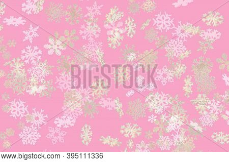 Beautiful Snowflake Pattern White And Gold Falling On A Subtle Pastel Purple Background