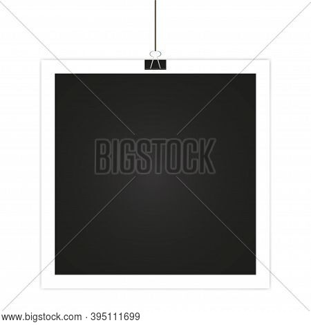 Photo Frame Hanging On Clip . Photo Frame On White Backgraund .retro Photo, Vector Illustration
