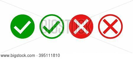 Checkmark And X Mark Icon . Green And Red Checkmark On White Background. Checkmark Vector Icon Set.