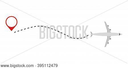 Airplane Line Icon. Airplane With Red Start Point . Plane On White Background . Travel Concept .airp