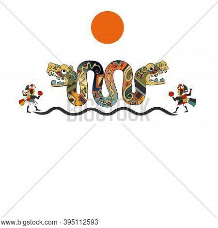 Template Card With The Serpent And The Sun. Background In Ethnic Style Of The Aztecs, Mayas, Incas.