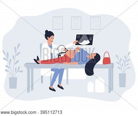 The Doctor Performs An Ultrasound Examination Of A Pregnant Patient. Transabdominal Ultrasound Exami