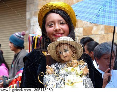Cuenca, Ecuador - December 24, 2019: Christmas Parade Pase Del Nino Viajero (traveling Child) In Hon