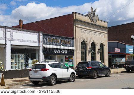 Maynard, Ma, Usa - May 16, 2019: Historic Commercial Buildings On Main Street In Maynard Historic To