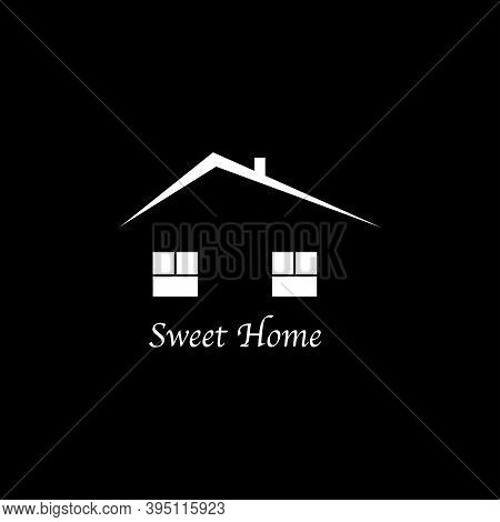 Home Logo Icon On Black Background. Web Design. Vector.
