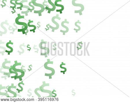 Green Dollar Signs Scatter Money Vector Design. Investment Backdrop. Currency Token Dollar Money Sca