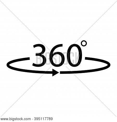 Flat 360 Rotation Vector Icon. 360 Degree Arrow .vector 10 Eps