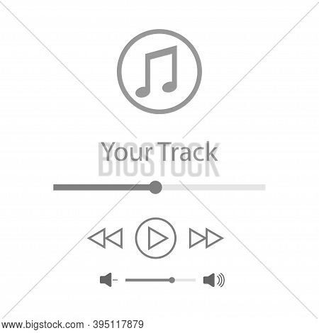 Music Player In Flat Style. Music Player Illustration . Media Player Inteface.