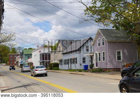 Maynard, Ma, Usa - May 16, 2019: Historic Buildings On Summer Street Near Main Street In Maynard His
