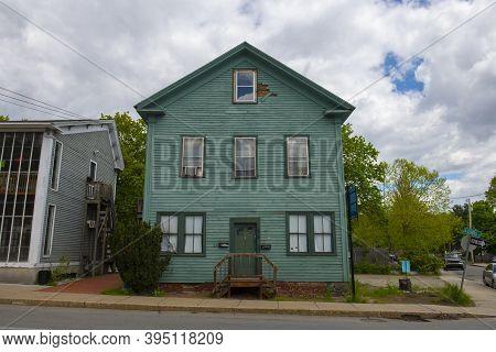 Historic Buildings On Summer Street Near Main Street In Maynard Historic Town Center In Summer, Mayn