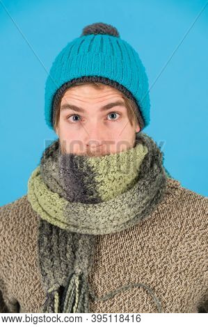Feeling Sick And Cold. He Caught A Cold. Male Knitwear Fashion. Men Knitted Accessory. Poor Homeless