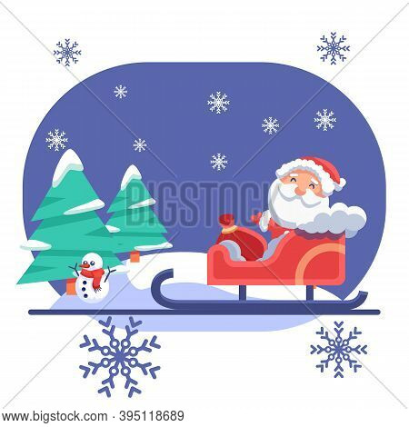 Santa Claus In Sledge, Snowman On Blue Backdrop. Christmas Holiday Postcard For Invitation Or Gift C