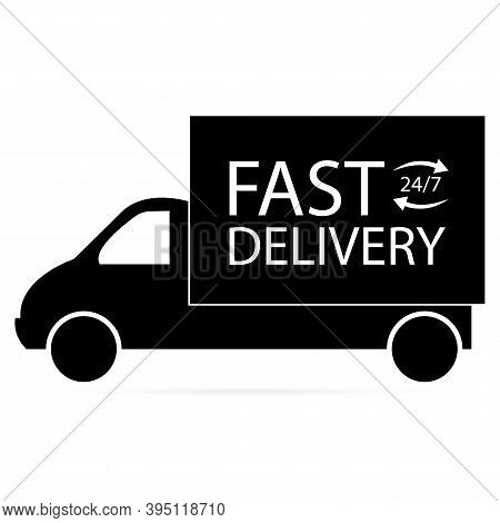 Black Car, Fast Delivery Icon On White Background. Vector Illustration.