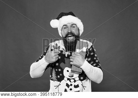 Let Christmas Surprise You. Surprised Santa Give Thumbs Up. Bearded Man Got Surprise Present. Unexpe