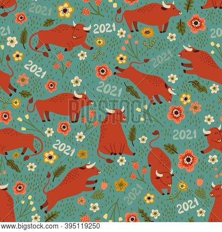 Vector Seamless Pattern With Bulls In Colors. Lovely Red Bulls Are Walking In The Meadow. The Bull I