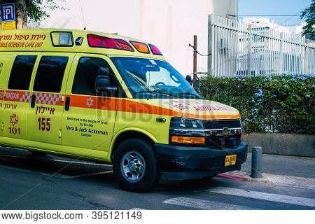 Tel Aviv Israel November 15, 2020 View Of A Israeli Ambulance Rolling In The Streets Of Tel Aviv Dur