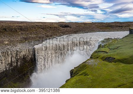 Dettifoss Waterfall In Jokulsa A Fjollum River In The Highlands Of North Iceland