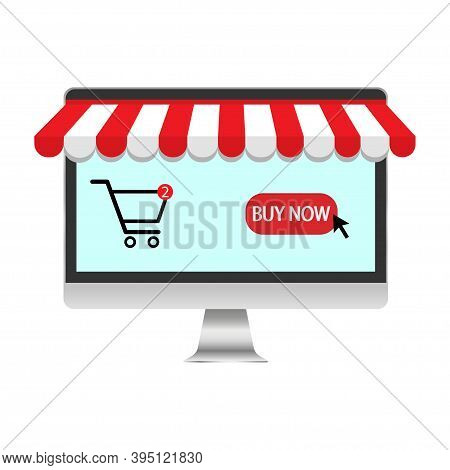 Icon With Online Shopping Icon. Laptop Computer Technology. Vector.