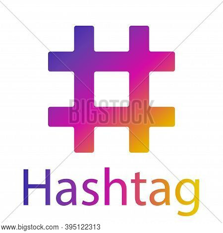 Hashtag Icon , Gradient Hashtag Illustration.flat Hashtag Icon