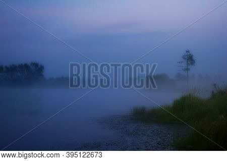 Smoke Of Mist Over The Pond. Morning Mist Over The Pond.