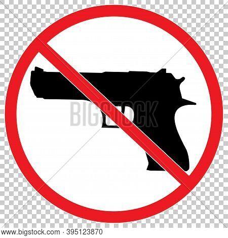 No Gun Icon . No Gun Red Sign Illustration.