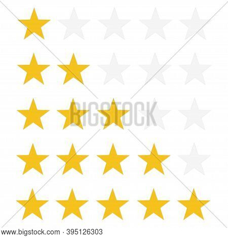 5 Star Rating Icon. Stars With Shadow On White Backgraund . Great Design For Website Or App.