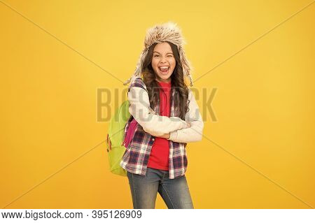 Course Selection Period. Kid Girl Wear Hat With Ear Flaps. Winter Events At School. Winter Entertain