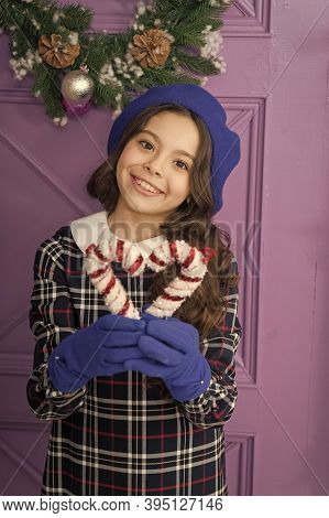 Peppermint Candy. Elegant Kid In Hat And Gloves. Treat Yourself. Christmas Decor. Decorating Ideas.