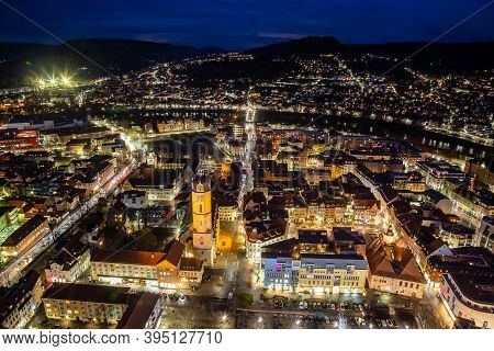 Birds Eye View Over Jena By Night