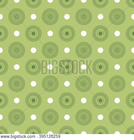 Green Geometric Design. Allover Circles And Dots.