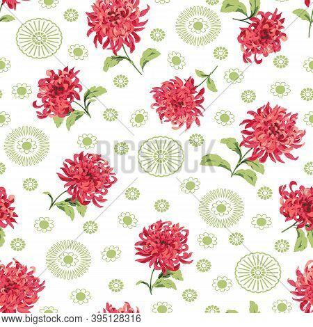 Red And Green Asian Mums. Stylized Chrysanthemum Design