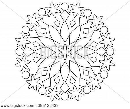 Mandala Or Snowflake With Patterns - Vector Linear Illustration For Coloring. Outline. Circular Patt