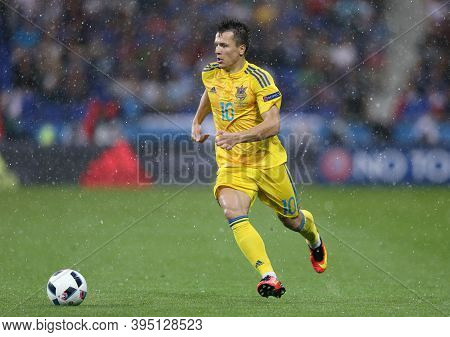 Lyon, France - June 16, 2016: Yevhen Konoplyanka Of Ukraine Controls A Ball During The Uefa Euro 201